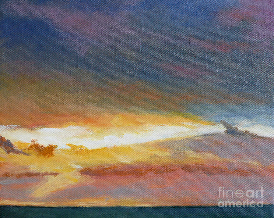 Sunset Painting - Oregon Coast Sunset by Melody Cleary