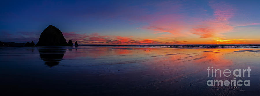 Haystack Rock Photograph - Oregon Coast Sunset Sandscape by Mike Reid