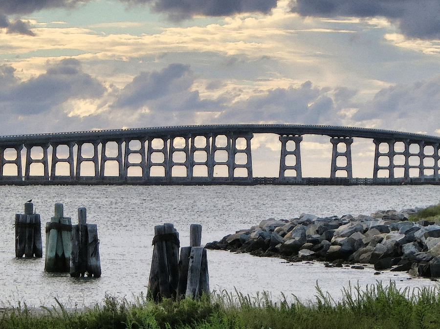Bridge Photograph - Oregon Inlet Bridge And Pilings by Patricia Januszkiewicz