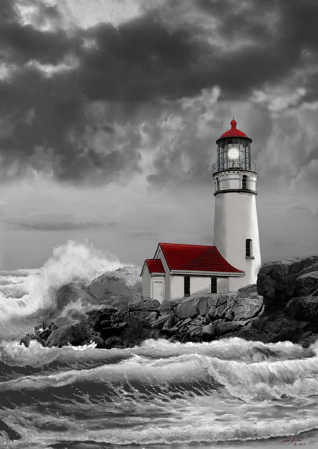 Oregon Lighthouse Cape Blanco In Black White And Red Painting By