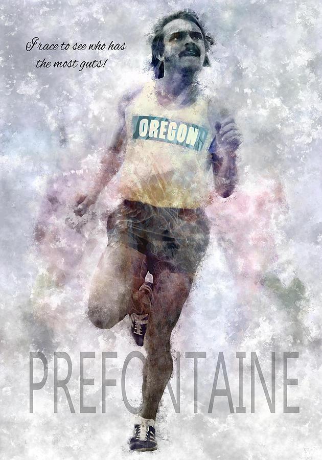 Oregon Digital Art - Oregon Running Legend Steve Prefontaine by Daniel Hagerman