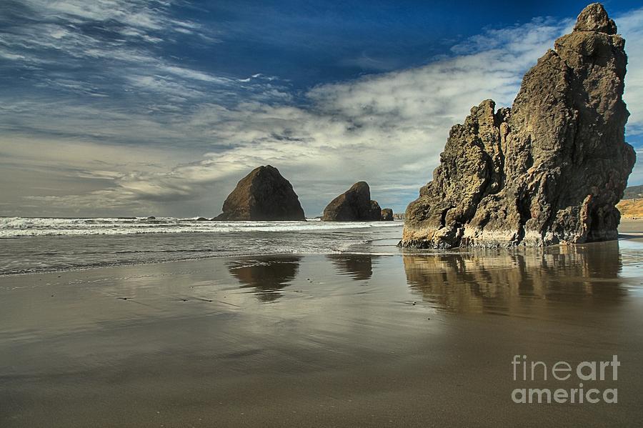 Oregon Beach Photograph - Oregon Sea Stack Reflections by Adam Jewell