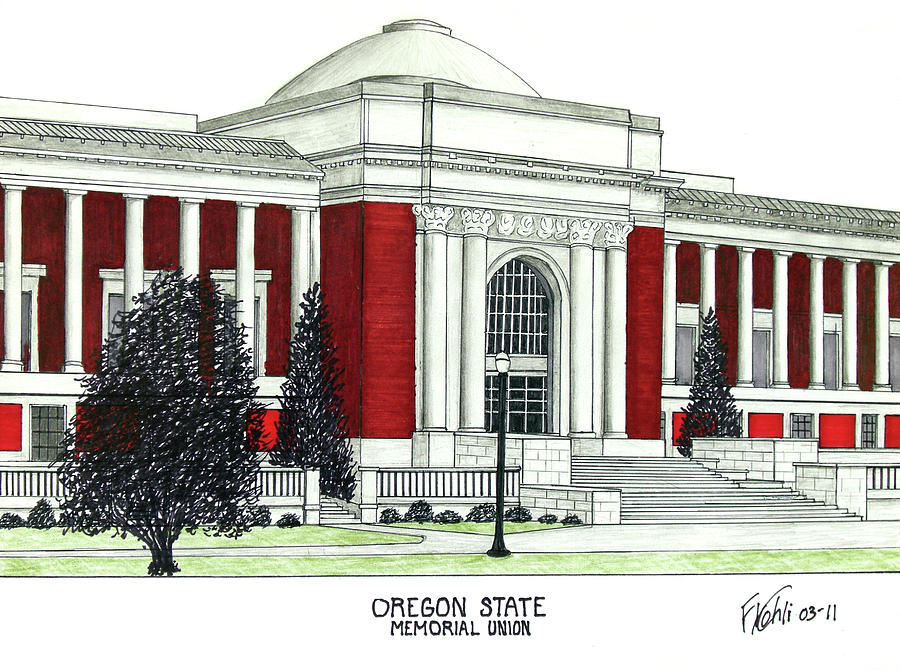 Univerity Campus Buildings Drawings Drawing - Oregon State by Frederic Kohli