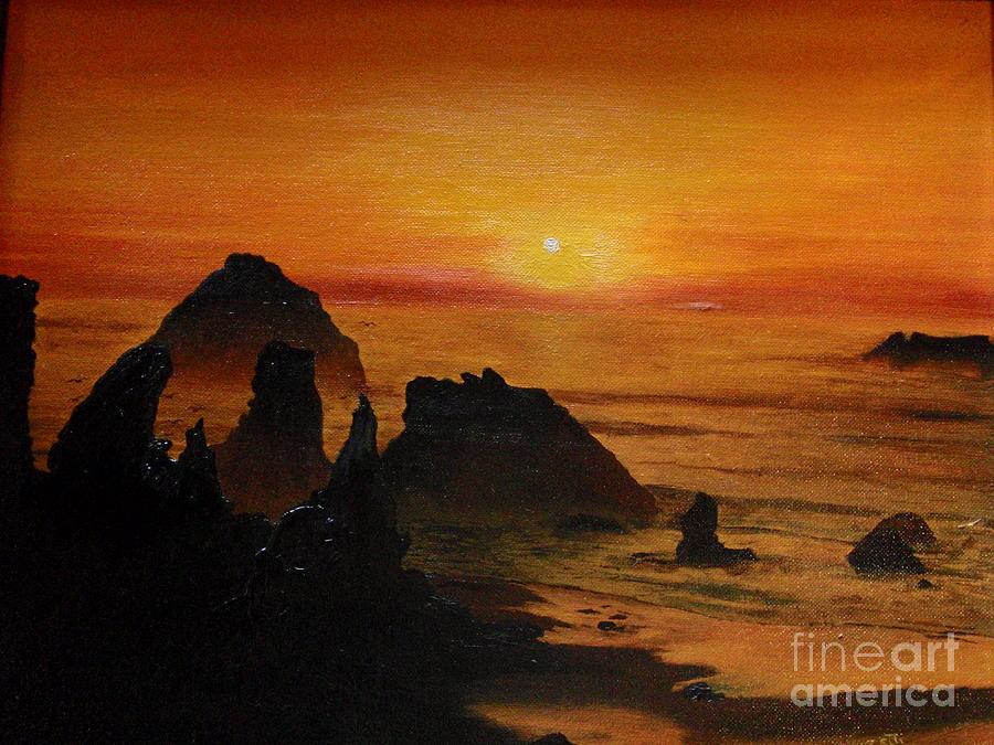 Sunset Painting - Oregon Sunset by Suzette Kallen