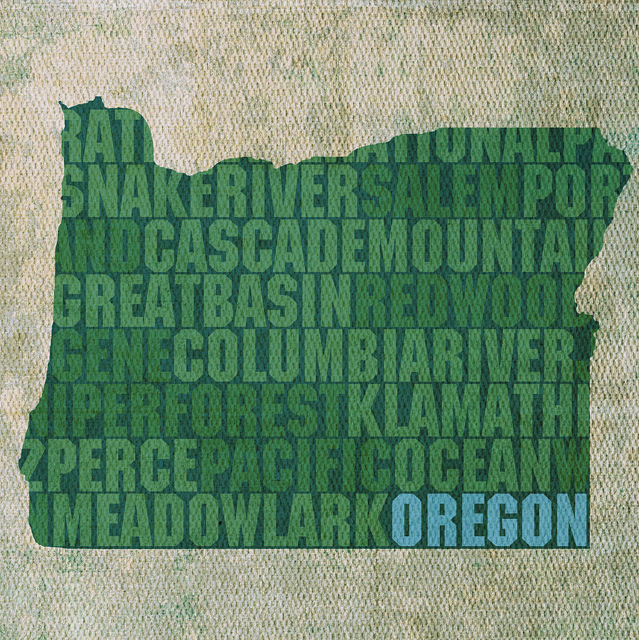 Oregon Mixed Media - Oregon Word Art State Map On Canvas by Design Turnpike