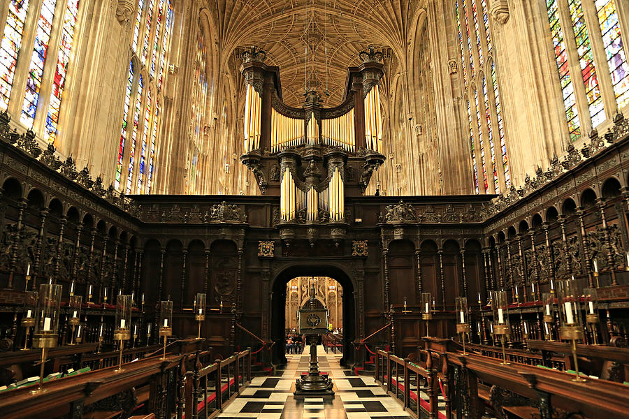 Organ Photograph - Organ And Choir - Kings College Chapel by Stephen Stookey