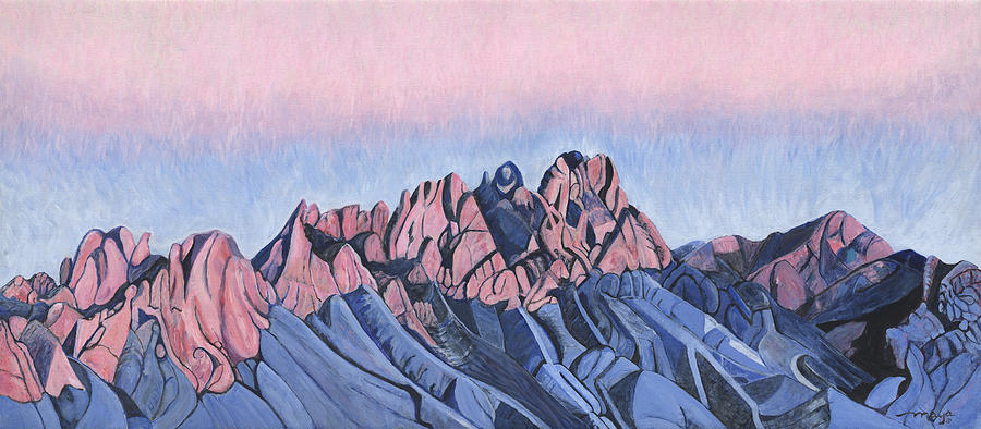 Just After Sunset Painting - Organ Mountains North by Illusions Maya