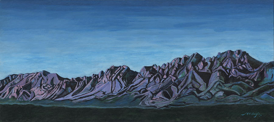 Organ Mountains from Ft. Fillmore Road Painting by Illusions Maya