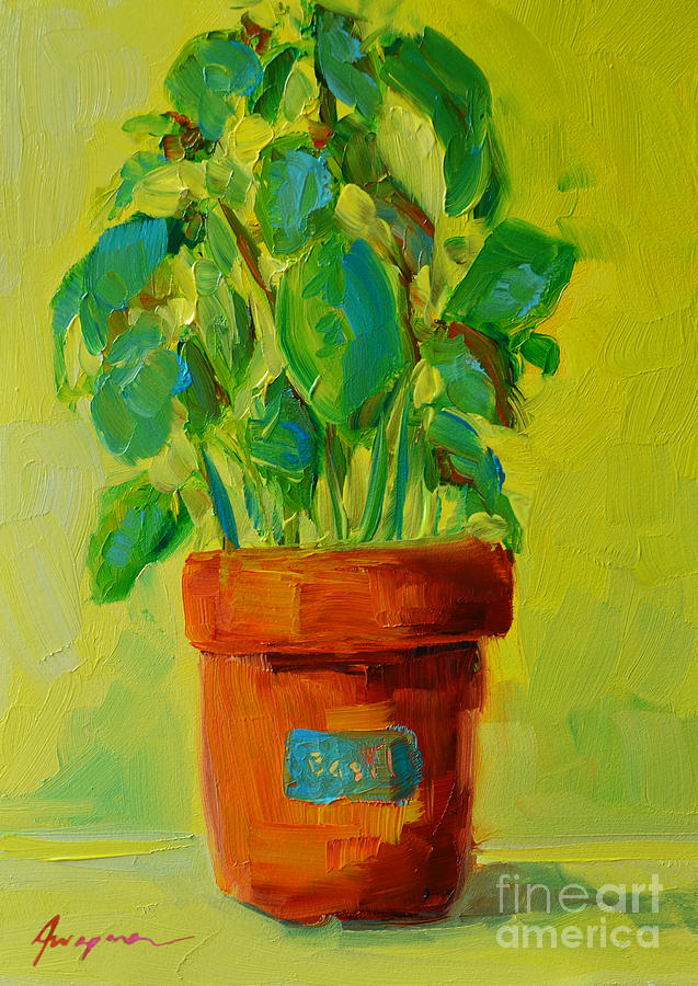 Still Life Original Oil Painting Of An Organic Basil Plant At The Farmers Market Painting - Organic Basil Plant Still Life by Patricia Awapara