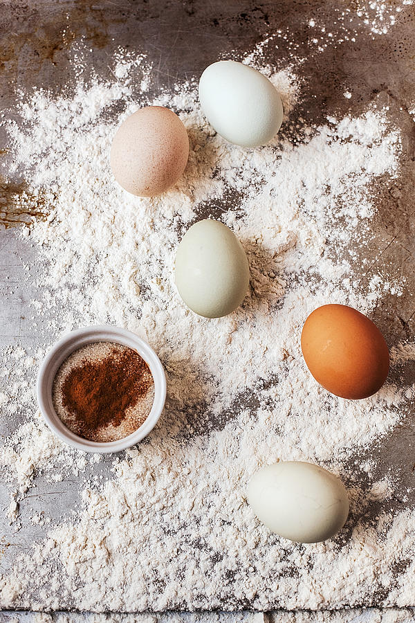 Organic Eggs, Sugar And Flour Photograph by One Girl In The Kitchen