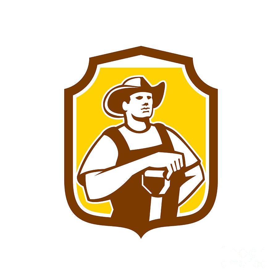 Farmer Digital Art - Organic Farmer Shovel Shield Retro by Aloysius Patrimonio
