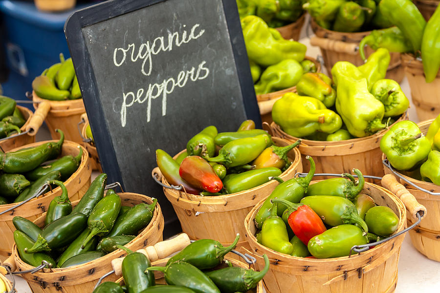 Baskets Photograph - Organic Peppers At Farmers Market by Teri Virbickis