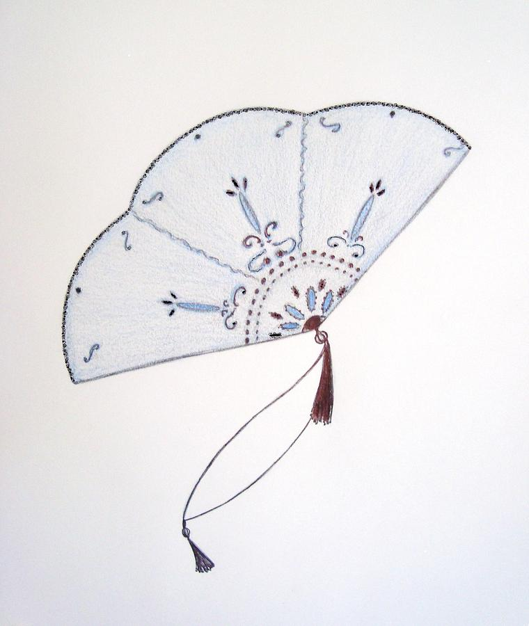 Blue And White Chinese Fan Drawing - Oriental Fan by Christine Corretti
