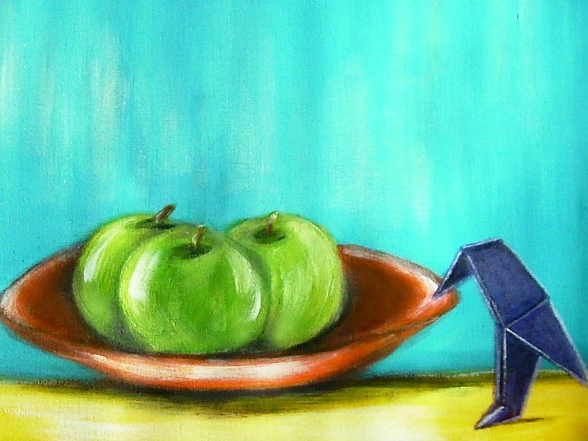 Still Life Painting - Origami Bird And Apples by Joseph Ferguson