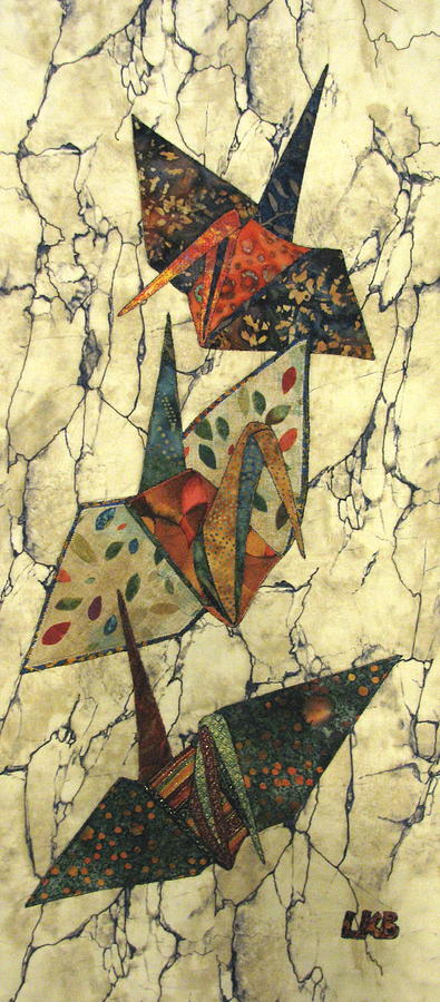Nature Tapestry - Textile - Origami Cranes by Lynda K Boardman