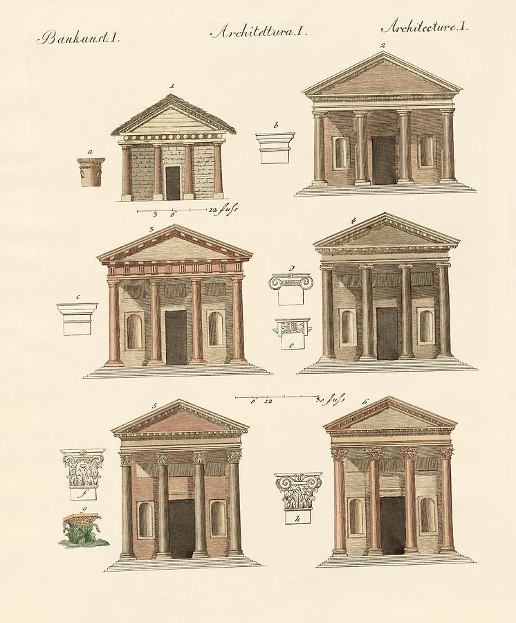 Tuscan Architecture Drawing - Origin And Development Of Architecture by Splendid Art Prints