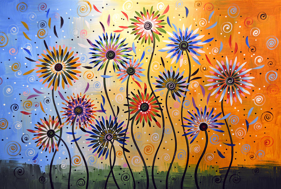Nature Painting   Original Abstract Modern Flowers Garden Art ... Explosion  Of Joy By