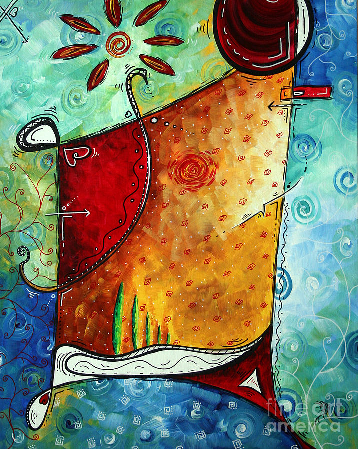 Original Abstract Pop Art Style Colorful Landscape Painting Home To Tuscany By Megan Duncanson