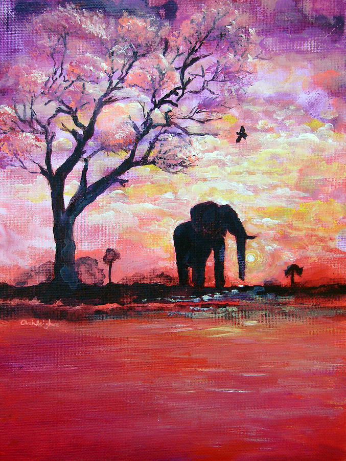 Original Acrylic Elephant Painting Gentle Strength From