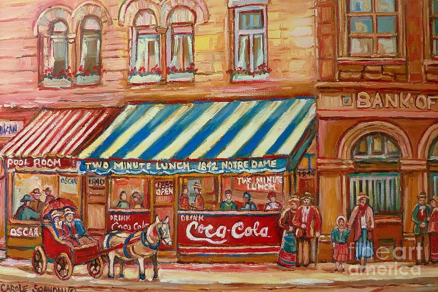 Montreal Scenes Painting - Original Bank Notre Dame Street by Carole Spandau