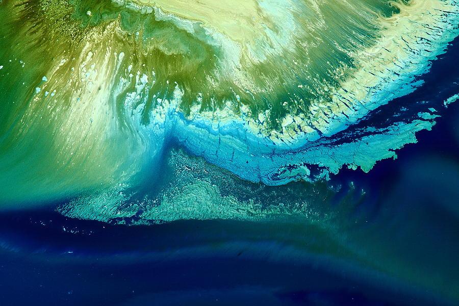 Original Blue Abstract Art Hidden Mountain By Kredart