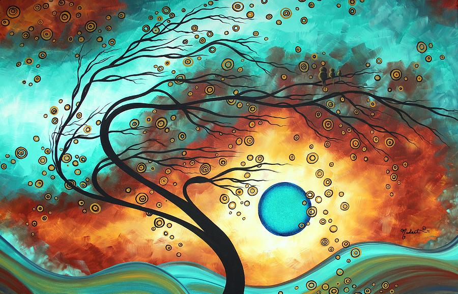 Original Bold Colorful Abstract Landscape Painting Family Joy II By