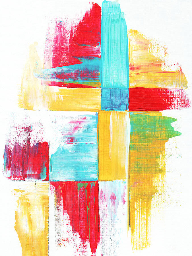 Abstract Painting - Original Bold Colorful Abstract Painting Patchwork By Madart by Megan Duncanson