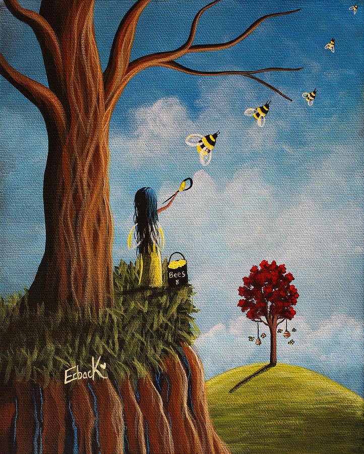 Original Fairy Artwork - Creating Her Happy Place by Erback Art