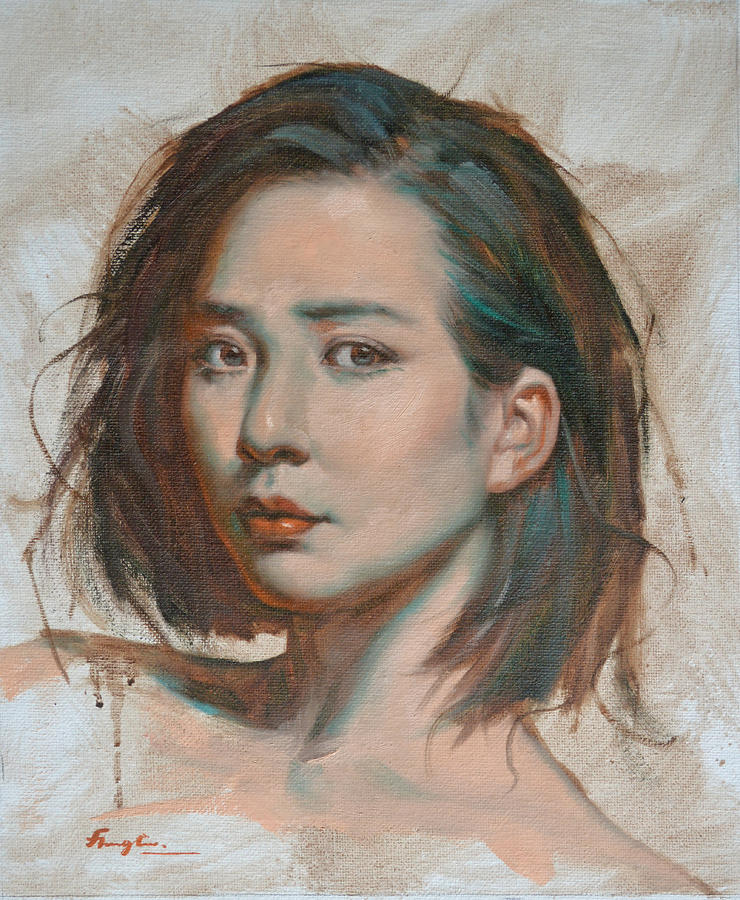 Original impression oil painting art portrait of chinese girl on portrait painting original impression oil painting art portrait of chinese girl on canvas by hongtao voltagebd Image collections