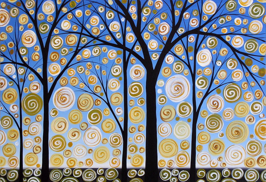 Trees Painting - Original Landscape Tree Art Painting .. Sky Magic by Amy Giacomelli