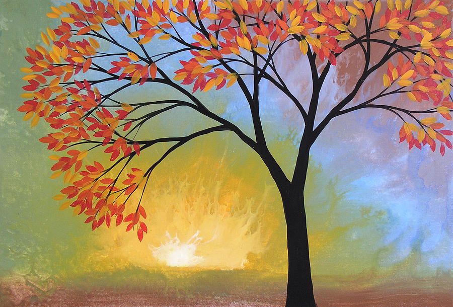 Tree Painting - Original Landscape Tree Painting ... Here Comes the Sun by Amy Giacomelli