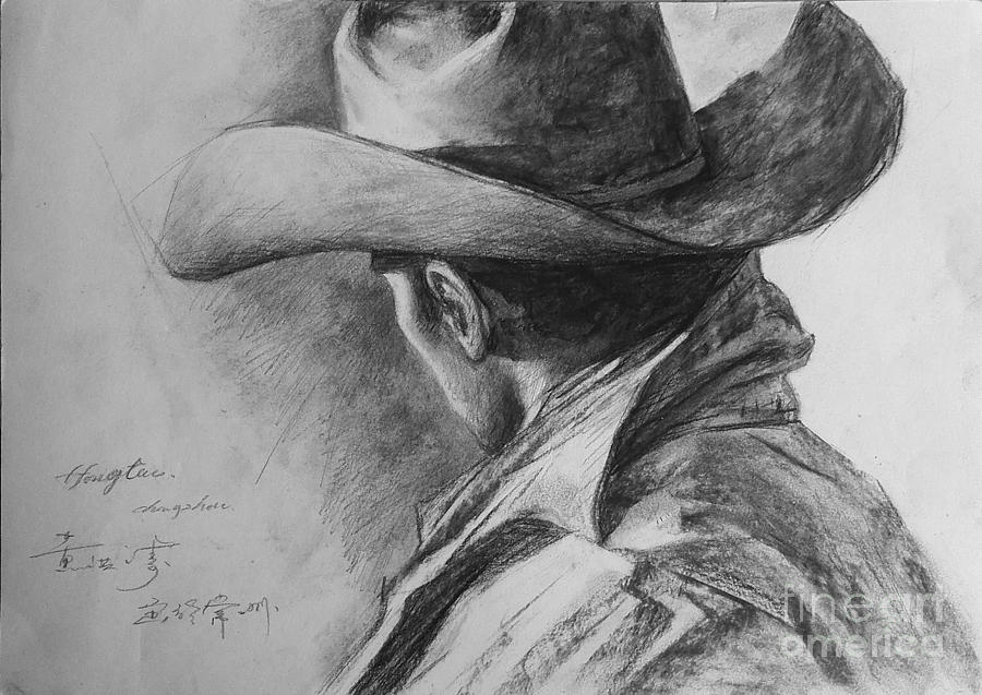 Original sketch painting original man cowboy pencil drawing sketch art on peper by hongtao by