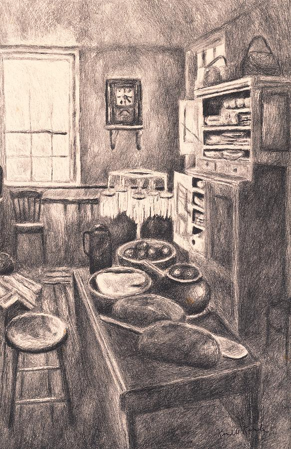 Kitchen Drawings Drawing - Original Old Fashioned Kitchen by Kendall Kessler