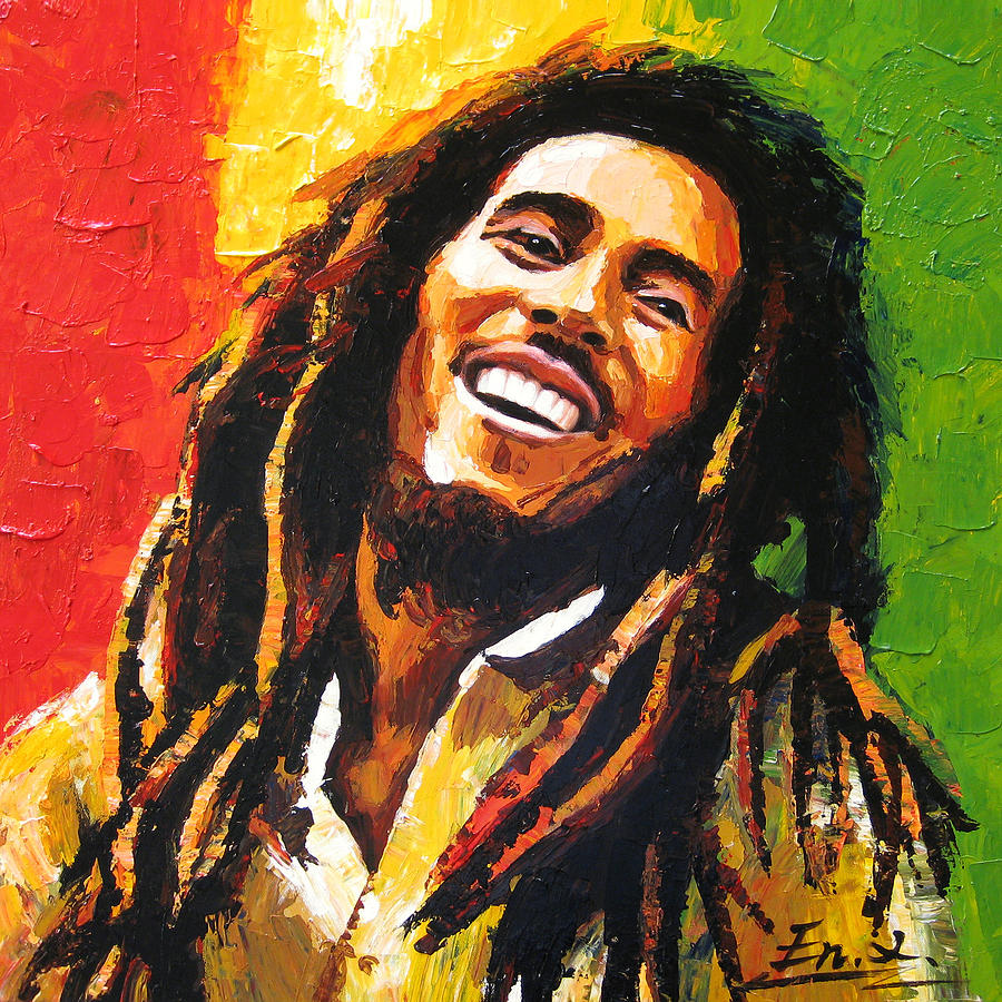 Original painting bob marley painting by enxu zhou for A mural is painted on a