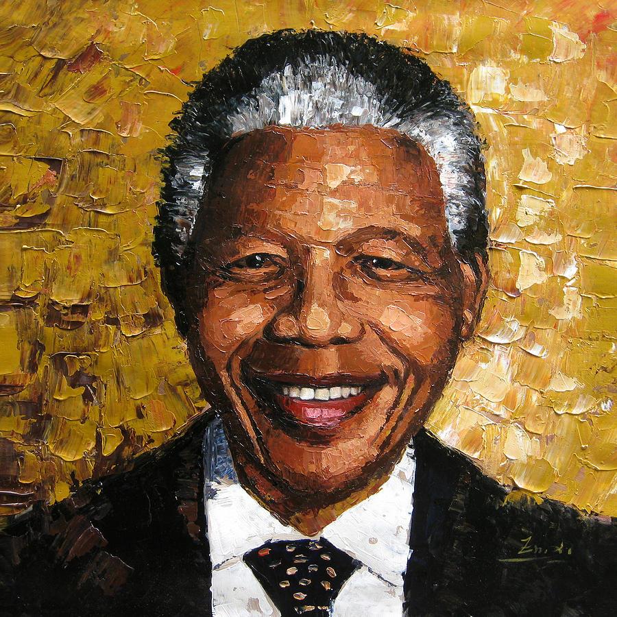 Nelson Mandela Painting - Original painting Nelson Mandela by Enxu Zhou