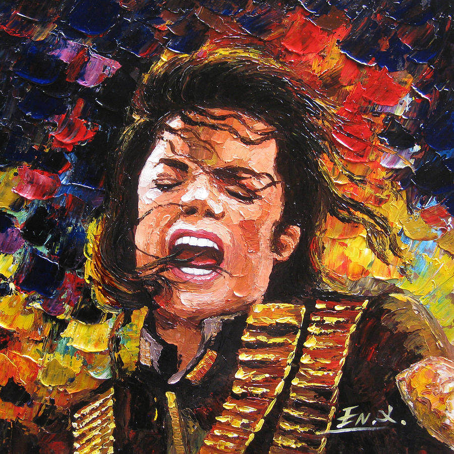 Portrait Painting - original palette knife painting Michael Jackson by Enxu Zhou