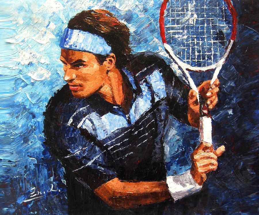 Roger Federer Painting - original palette knife painting Roger Federer by Enxu Zhou