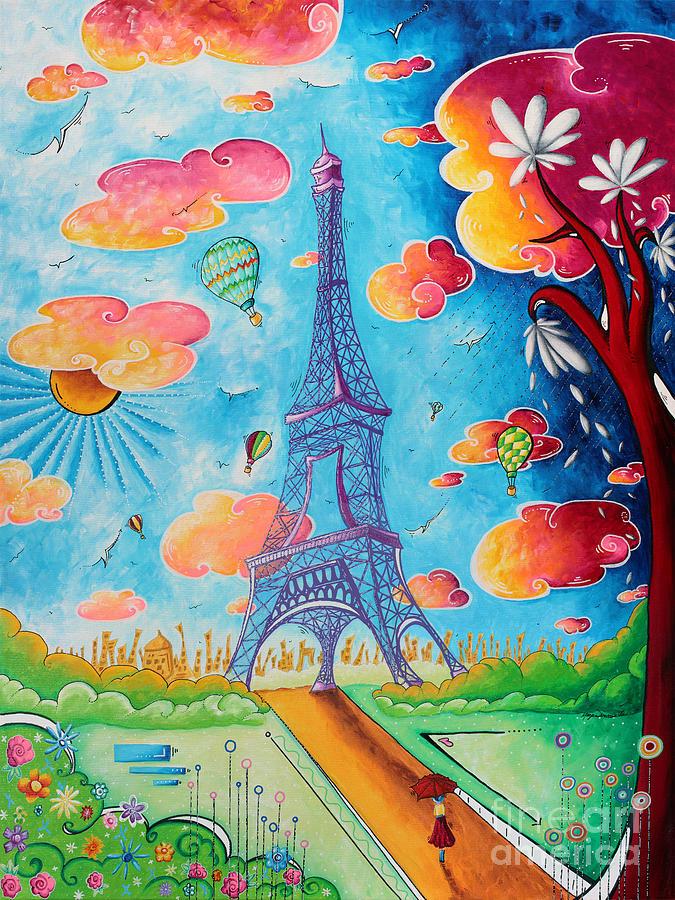 Original Paris Eiffel Tower Pop Art Style Painting Fun And Chic By Megan Duncanson