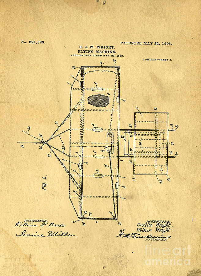 Patent Digital Art - Original Patent For Wright Flying Machine 1906 by Edward Fielding
