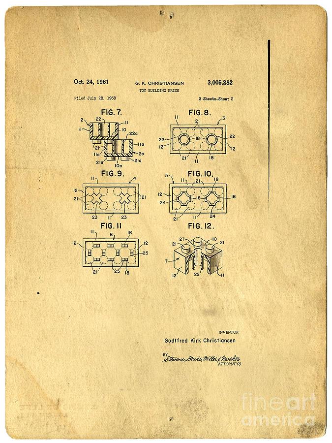 Lego Digital Art - Original Patent For Lego Toy Building Brick by Edward Fielding