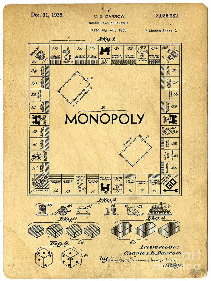 Monopoly Digital Art - Original Patent for Monopoly Board Game by Edward Fielding