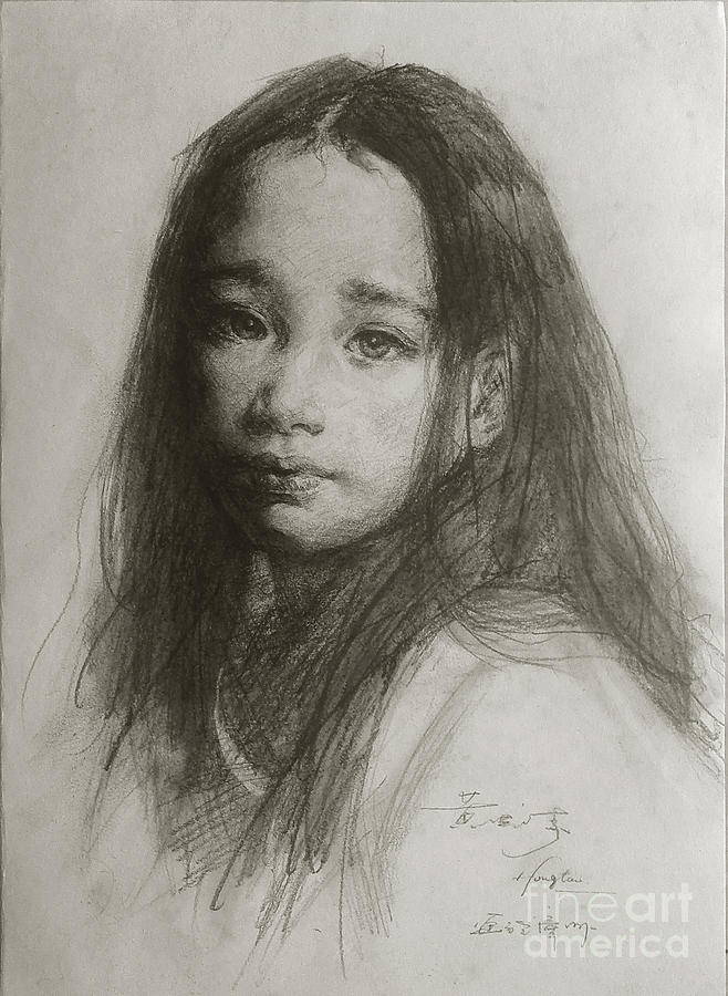 Original sketch drawing original pencil sketch art portrait of chinese beautiful girl on paper