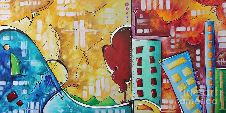 Original Pop Art Style Landscape Cityscape Painting By Megan ...