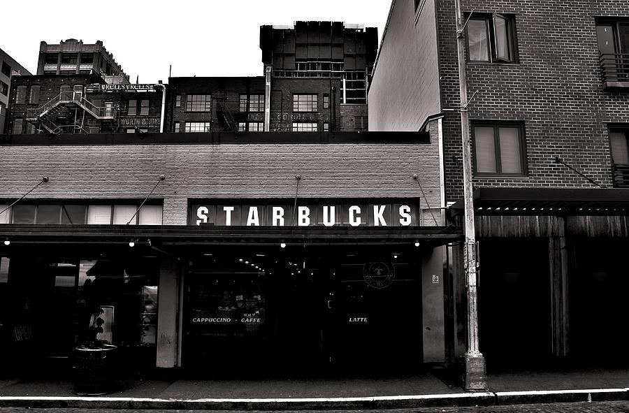Starbucks Photograph - Original Starbucks Black And White by Benjamin Yeager