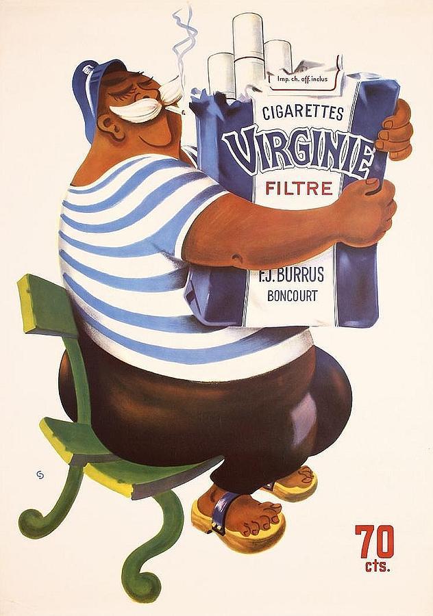 Original Drawing - Original Swiss Advertisement Poster - Cigarettes Virginie by Max Schmid
