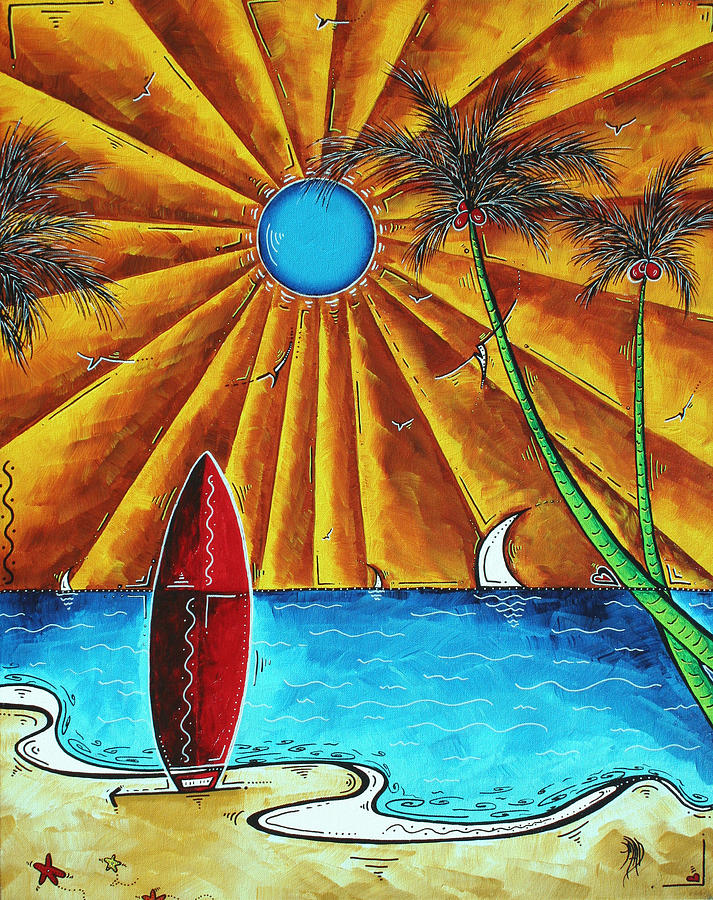 Abstract Painting - Original Tropical Surfing Whimsical Fun Painting Waiting For The Surf By Madart by Megan Duncanson