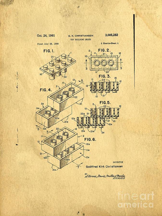 Lego Digital Art - Original Us Patent For Lego by Edward Fielding