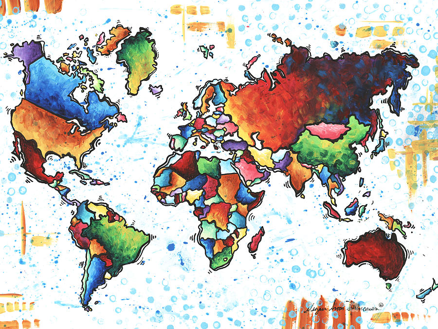 Original Vibrant Colorful World Map Pop Art Style Painting By Megan - Colorful world map painting