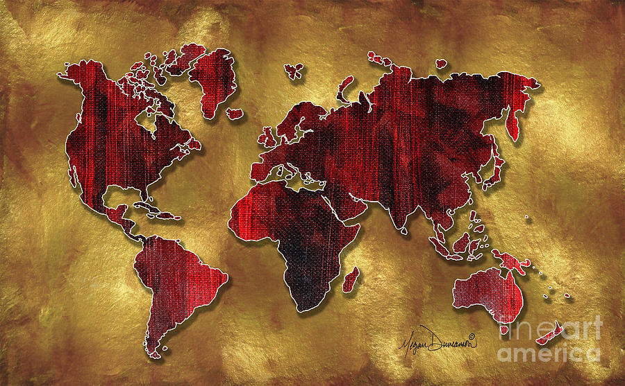 Original world map design gold and vibrant red unique art by megan map painting original world map design gold and vibrant red unique art by megan duncanson gumiabroncs Gallery