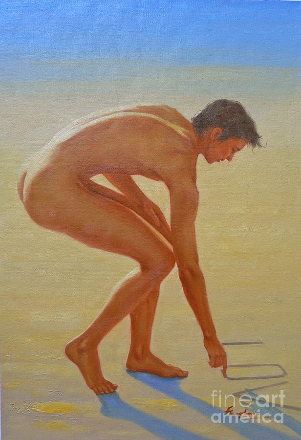 Original Painting - Original  Young Man Body Oil Painting  Gay Art - Male Nude By The Sea-055 by Hongtao     Huang